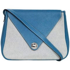 Hermes Blue Clemence Leather & Canvas Toile Christine Shoulder Bag
