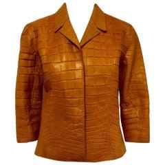 Hettabretz Autumn Orange Alligator Cropped Jacket With Three Quarter Sleeves