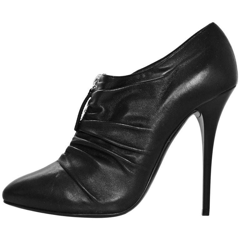 Giuseppe Zanotti Black Leather Ruched Zip Booties Sz 37 For Sale