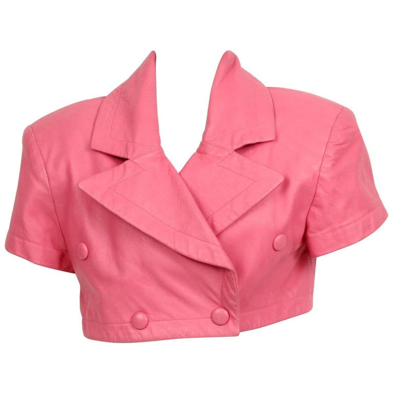 Michoel Schoeler Pink Leather Cropped Double Breasted Jacket