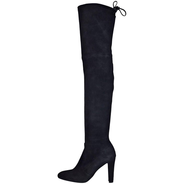 Stuart Weitzman Black Suede Highland Thigh-High Boots Sz 7.5 with DB