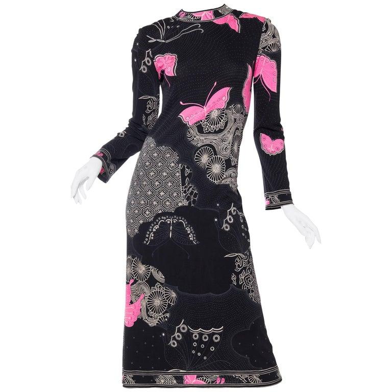 1970s Leonard Silk Jersey Butterfly Print Dress