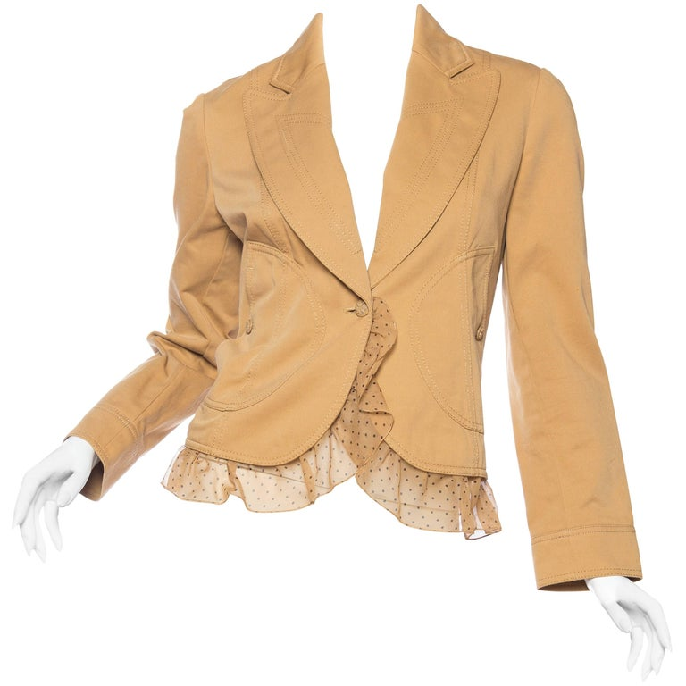 Valentino Cotton Blazer with Detachable Ruffle