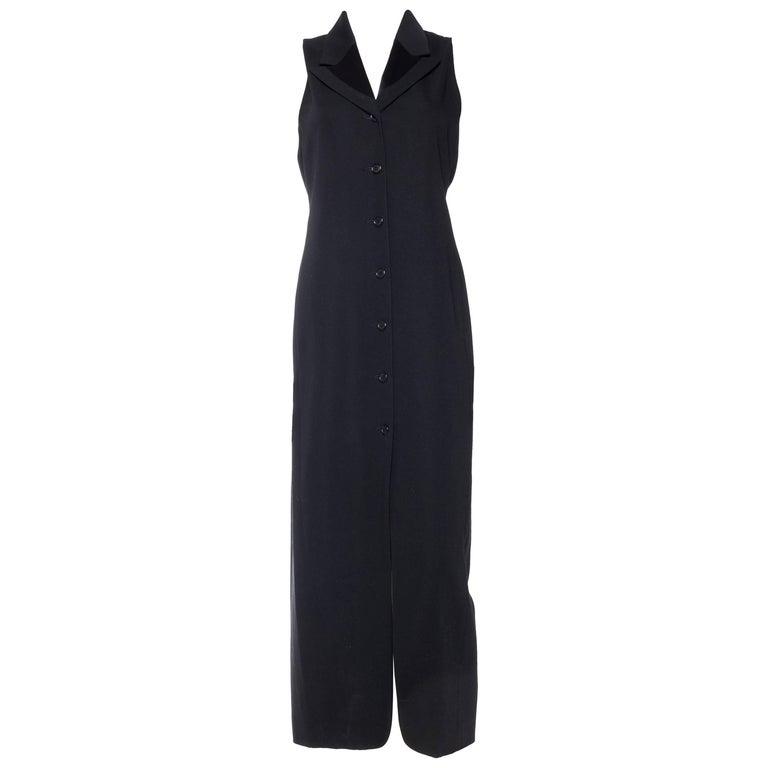 1990s CK Calvin Klein Tuxedo Vest Dress