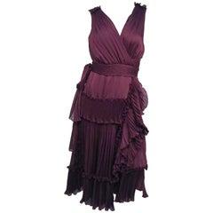 Diane von Furstenberg Purple Pleated Ruffle Wrap Dress
