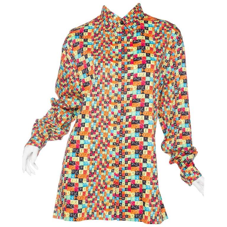 1990s Gianni Versace Op-Art Geometric Print Shirt