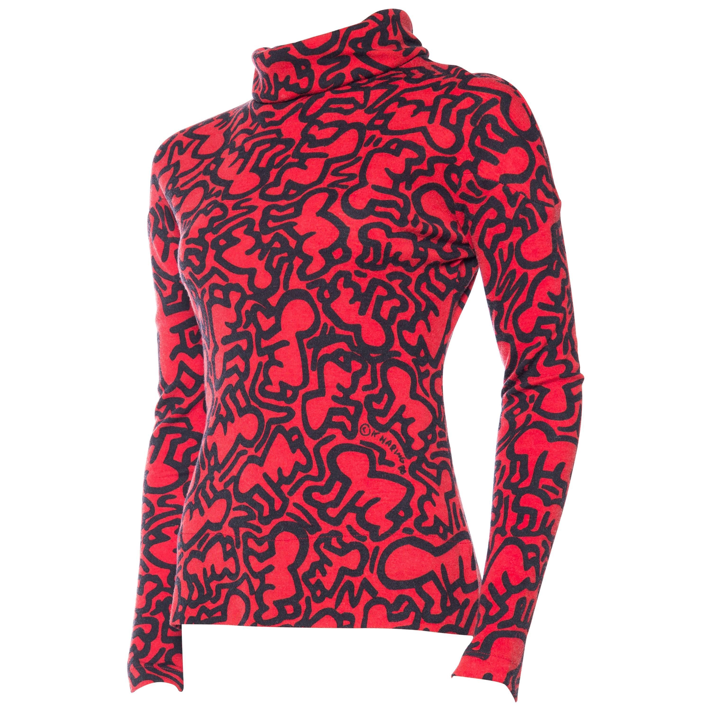1980S JEAN CHARLES DE CASTELBAJAC Red & Black Wool Knit Keith Hering Baby Print