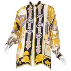 1990s Gianni Versace Baroque and Leopard Safari Silk Shirt
