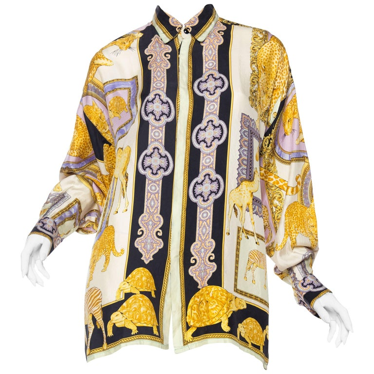 1990s Gianni Versace Baroque and Leopard Safari Silk Shirt