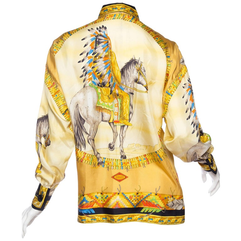 1990s Gianni Versace Native American Western Printed Silk Blouse