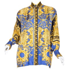 1990s Gianni Versace Couture Atelier Versace Silk Blouse with Medusa Buttons