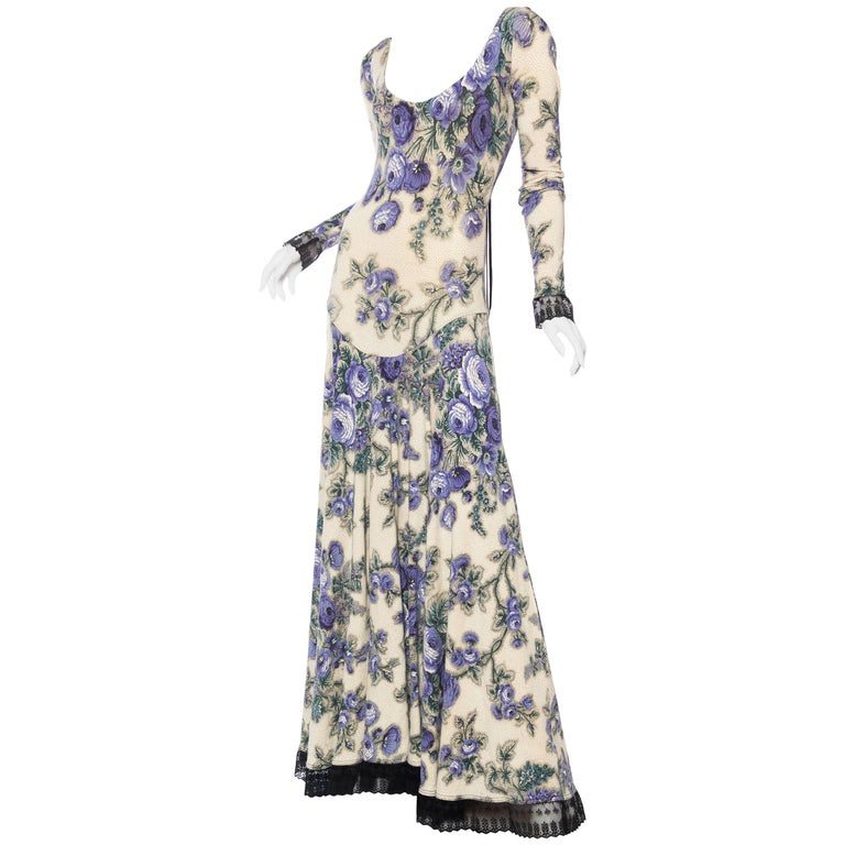 Early Betsey Johnson Knit Floral & Lace Maxi Dress