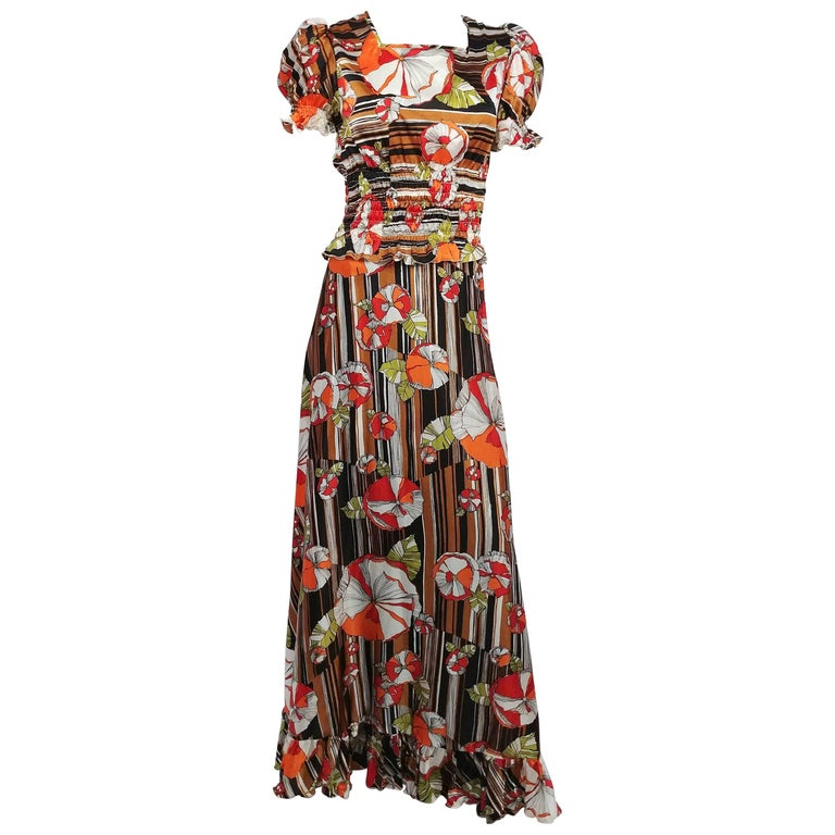 1960s Psychadelic Two Piece Blouse & Maxi Skirt Set