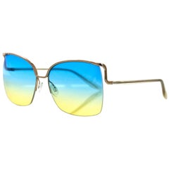 Barton Perreira Blue & Yellow Satdha Sunglasses with Case rt. $510