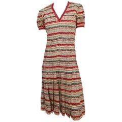 1970s Scherrer Boutique Striped Pleated Day Dress
