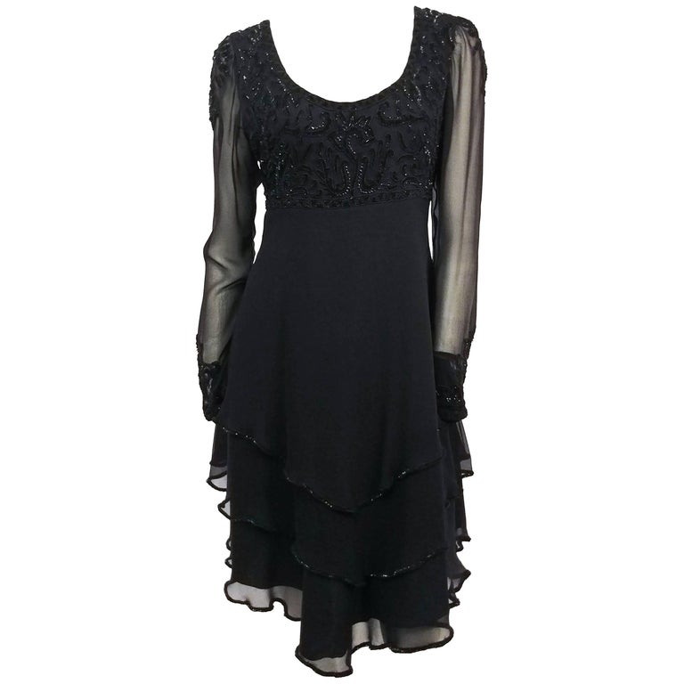 1960s Lillie Rubin Black Silk Chiffon Beaded Cocktail Dress