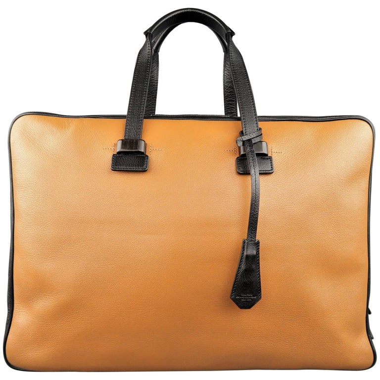Tom Ford Tan and Black Pebbled Leather Travel Carry-On Briefcase