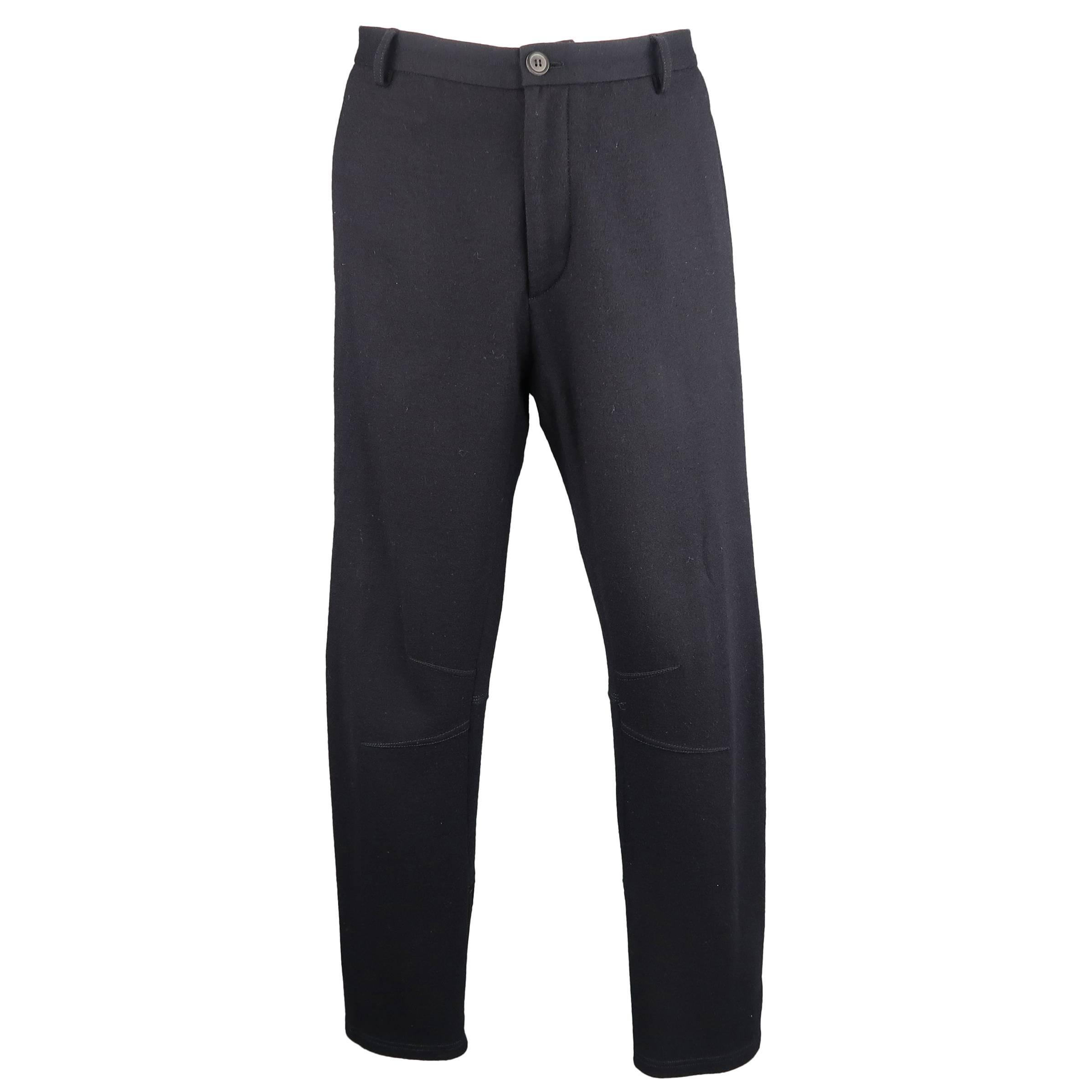 LANVIN Size 34 Navy Stretch Wool Zip Leg Jogger Trousers