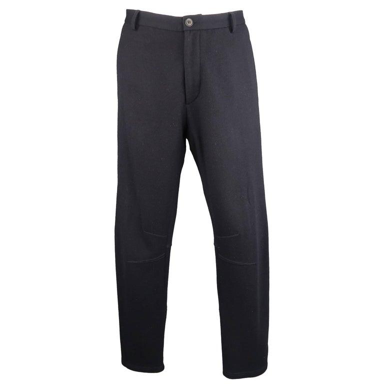 Men's LANVIN Size 34 Navy Stretch Wool Zip Leg Jogger Trousers