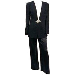 1980s Badgley Mischka Lace Blazer & Satin Trouser Pantsuit