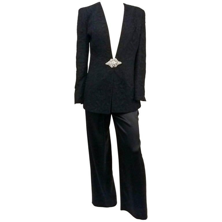 1980s Badgley Mischka Lace Blazer & Satin Trouser Pantsuit For Sale
