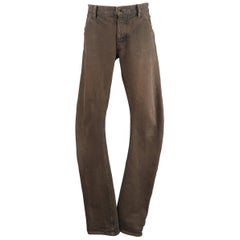 Men's ATTACHMENT Size L Washed Taupe Brown Distressed Denim Jeans