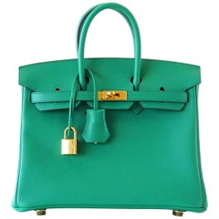 Hermes Birkin Bag 25 Vert Vertigo Emerald Tone Swift Gold Hardware