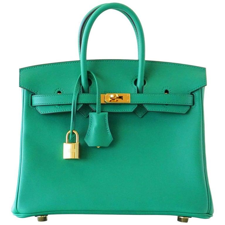 Hermes Birkin Bag 25 Vert Vertigo Emerald Tone Swift Gold Hardware For Sale