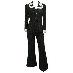 1960s Black & White Polka Dot Pantsuit