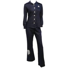 1970s Two Piece Denim Look Pantsuit w/ Lace Appliqué