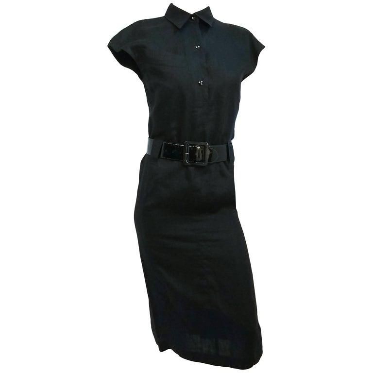 1980s Claude Montana Black Linen Shirtwaist Dress