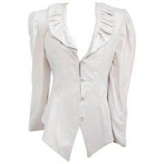 1980s White Leather Jacket