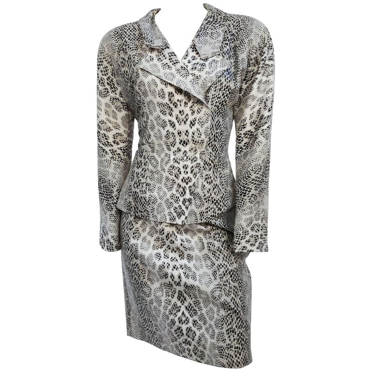 1980s Jean Muir White Snake Print Skirt Suit Set