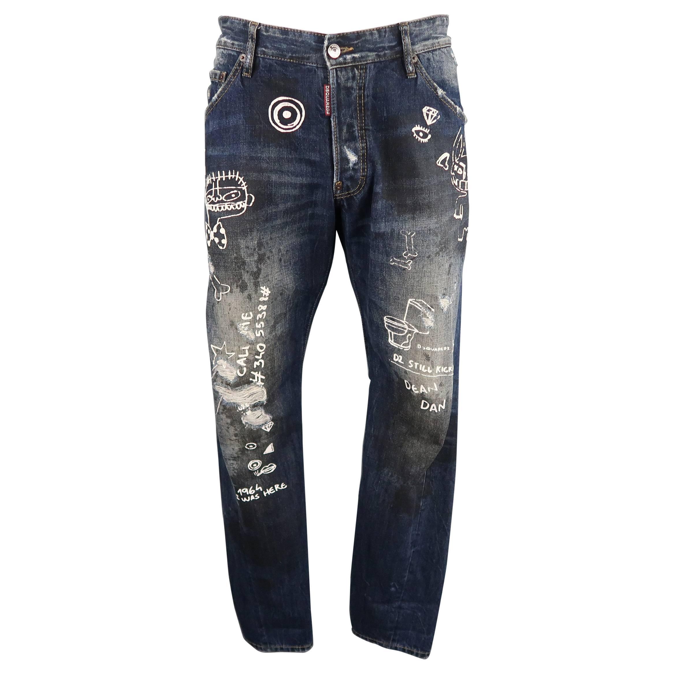 Jeans On Sale, Denim Blue, Cotton, 2017, 32 Dsquared2