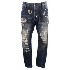 Men's DSQUARED2 Size 36 Navy Distressed Dirty Wash Doodle Denim Jeans