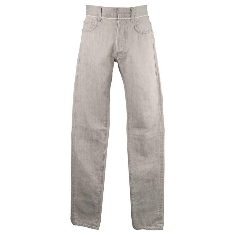 DIOR HOMME Size 30 Light Grey Solid Selvedge Denim Skinny Jeans For Sale