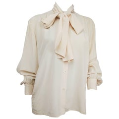 Yves Saint Laurent Rive Gauche Ivory Silk Blouse w/ Pussy Bow
