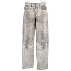 DIOR HOMME Size 31 Grey & White Marble Painted Stretch Skinny Jeans