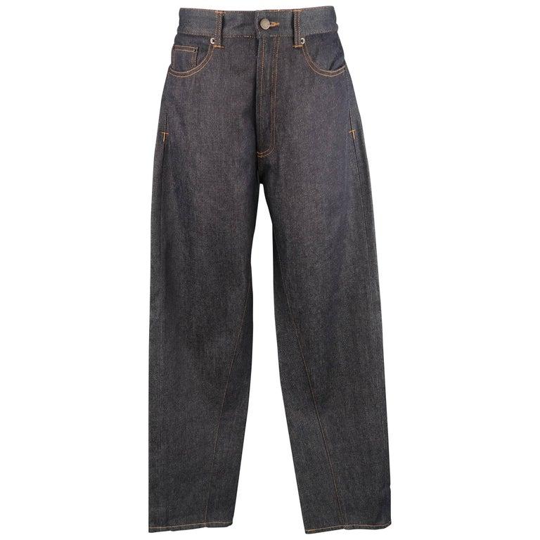 Men's GIVENCHY Size 32 Dark Navy Raw Denim Black Stripe Bar Jeans