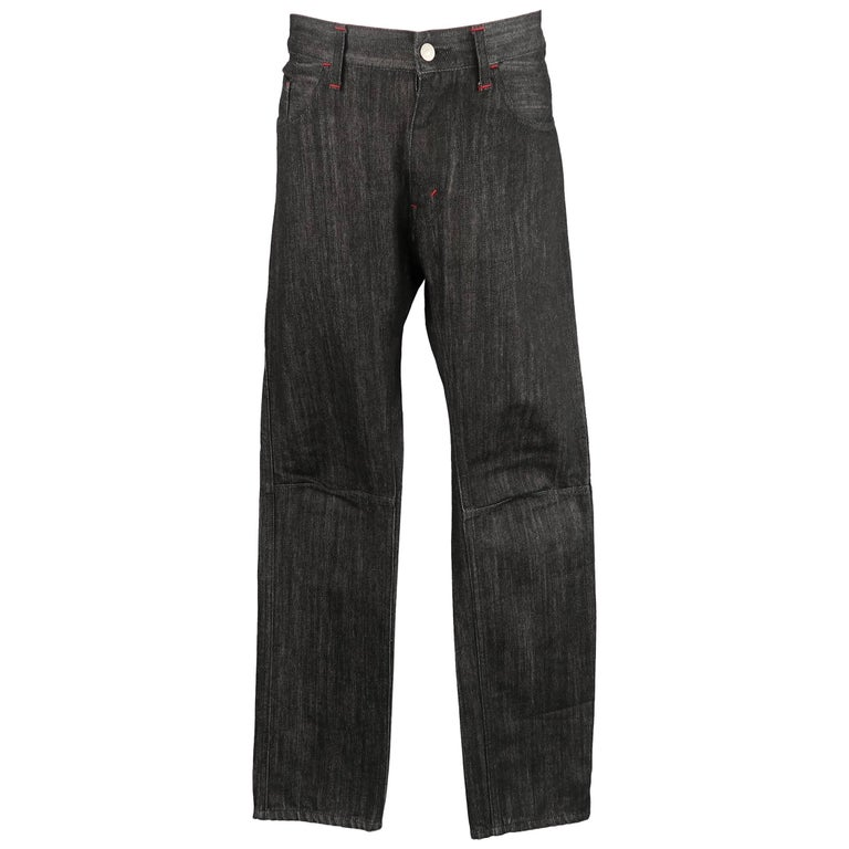 Men's JUNYA WATANABE X LEVI'S Size 32 Black Raw Denim Red Contrast Stitch Jeans