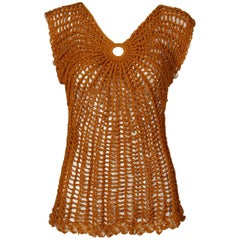 Vintage Metallic Gold Hand Crochet Knit Sweater Top or Shirt, 1970s