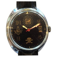 Mid Century Russian Mechanical Movement Watch. Masonic Emblems
