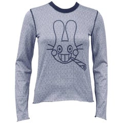 Lucien Pellat-Finet Spring Summer 2003 Navy Long Sleeve Shirt with Bunny