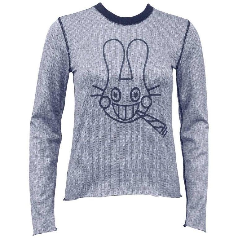 Lucien Pellat-Finet Spring Summer 2003 Navy Long Sleeve Shirt with Bunny