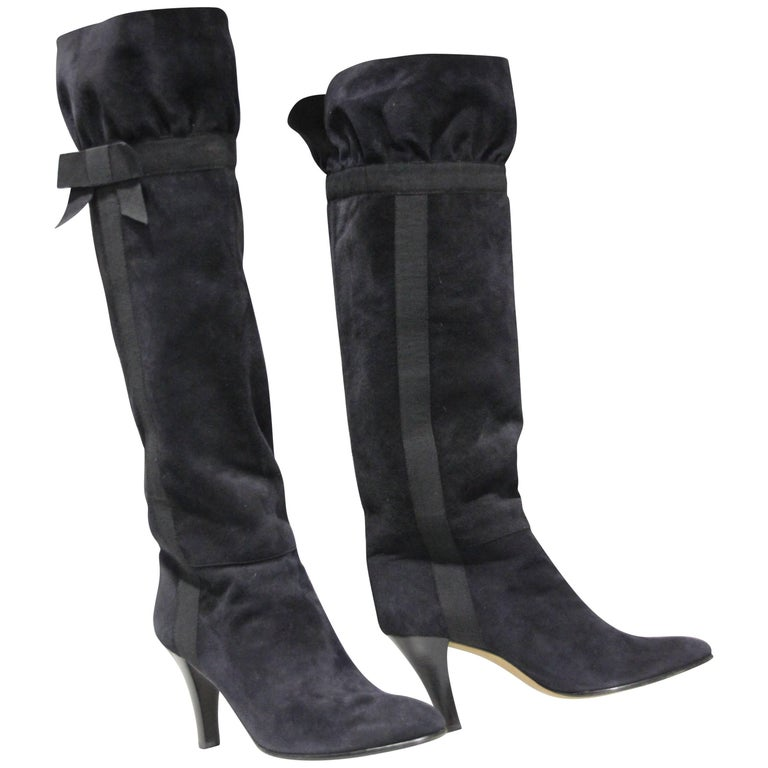 1970's Yves Saint Laurent Black Suede Boots W/ Bow Ribbon Details For Sale
