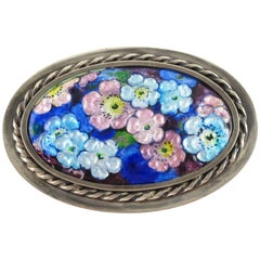 Camille Faure Limoges France Enamel on Copper Floral Brooch Pin