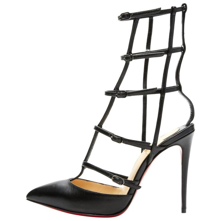 Christian Louboutin New Black Leather Cage Evening Sandals Heels Booties in Box