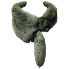 Moss Green Fox Fur Fling Stole, 1970s
