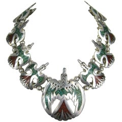 Native American Peyote Bird Chip Inlay Squash Blossom Necklace Sterling Silver