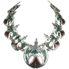 Sterling Silver Peyote Bird Chip Inlay Squash Blossom Necklace Native American